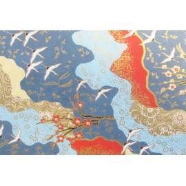 Grues et cerisiers japonais fond bleu