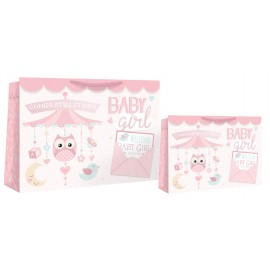 Sac cadeau medium shopper bébé fille (x6)