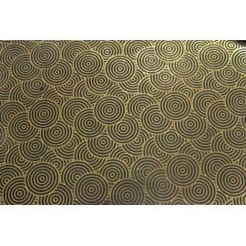 Papier fait main noir/ Feuille d'Or motif Hypnotic