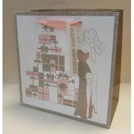 Sac cadeau medium square motifs cadeaux (x6)