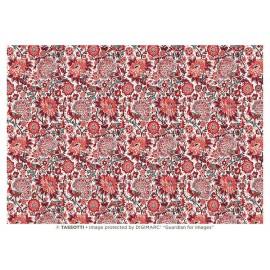 Papier Imprimé Paons Rouges 50 x 70 cm