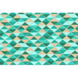 Papier fait main motif mosaique Turquoise & Or