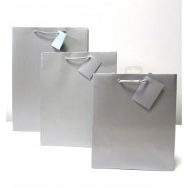 Sac cadeau uni Large Argent (x6)