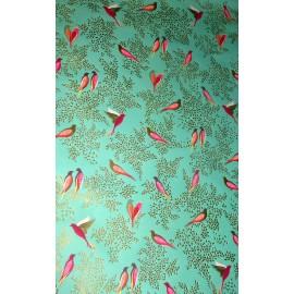 Papier imprimé SARA MILLER Hirondelles sur fond vert & doré