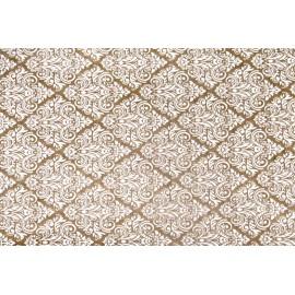 Papier Kraft fini main motif baroque blanc