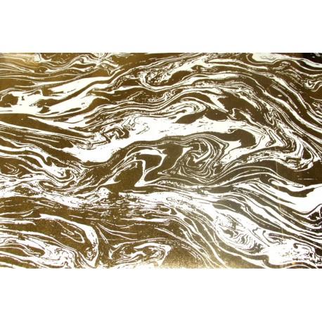 Papier fait main Ivoire Marbré Feuille d'Or