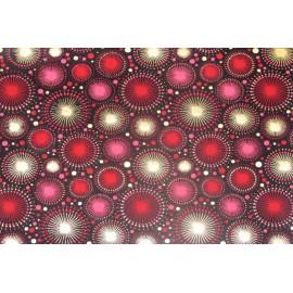 Papier fait main motifs artifices Noir, Rouge & Or