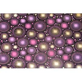 Papier fait main motifs artifices Noir, Violet & Or