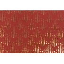 Papier Fait Main rouge Sapins Dorés