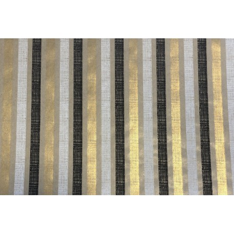 Papier Kraft fini main motif Noir, Blanc, Dorés 2