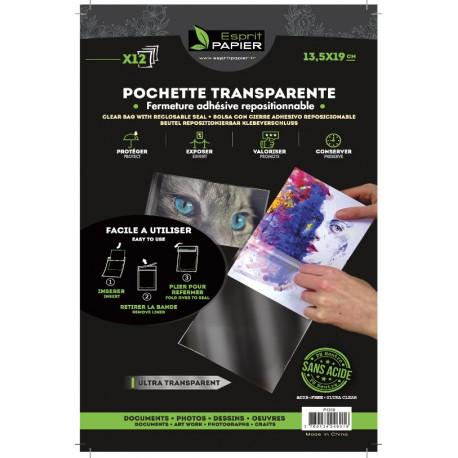 12 pochettes transparentes 13.5 x 19 cm (par 10)