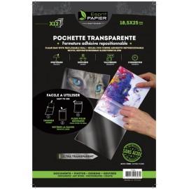 12 pochettes transparentes 18.5 x 25 cm (par 10)