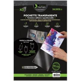 12 pochettes transparentes 24.5 x 31 cm (par 10)