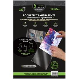 12 pochettes transparentes 28.5 x 36 cm (par 10)