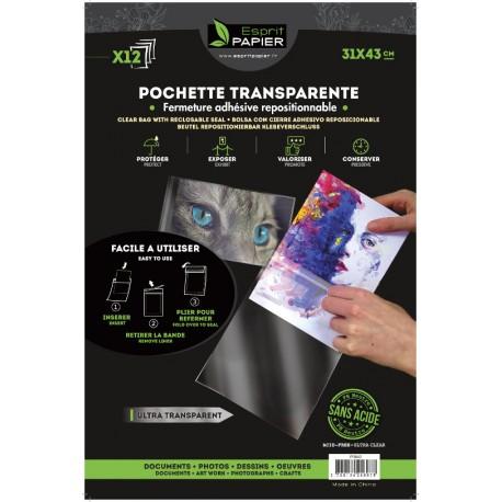 12 pochettes transparentes 31 x 43 cm (par 10)