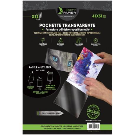 12 pochettes transparentes 41 x 51 cm (par 10)