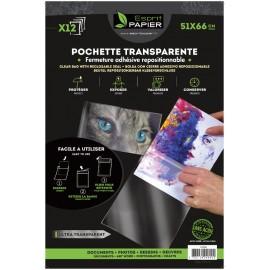 12 pochettes transparentes 51 x 66 cm (par 5)