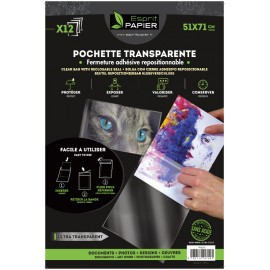 12 pochettes transparentes 51 x 71 cm (par 5)