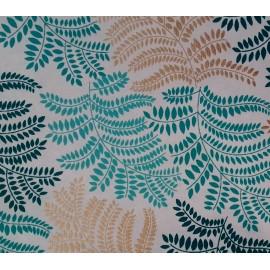 Papier Fait Main Cordial Blanc, Turquoise & Or