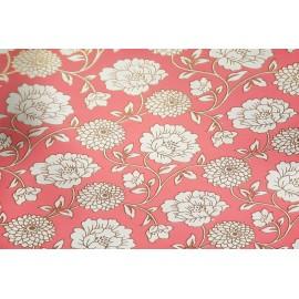 Papier Fait Main Rosé Fleurs Blanc & Or