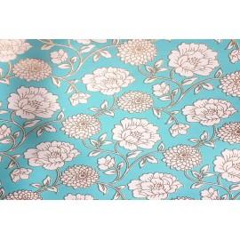 Papier Fait Main Turquoise Fleurs Blanc & Or