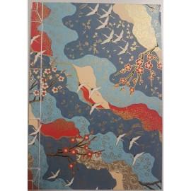 Carnet Japonais Bleu Cerisiers Fait Main