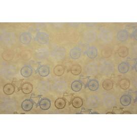 Papier fait main beige vélos blanc/or
