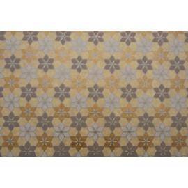 Papier fait main beige fleurs blanc/or/argent