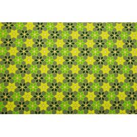 Papier fait main vert olive fleurs vert/or