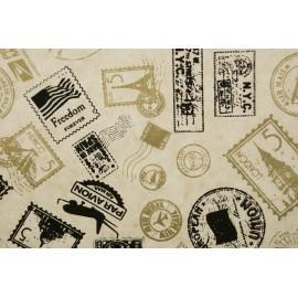 Lokta naturel imprimé timbres Noir et Or