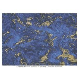 Papier imprimé Marbré bleu-or 50x70cm
