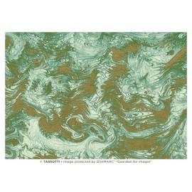 Papier imprimé Marbré vert-or 50x70cm