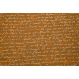 Texte français blanc sur sienne brulée