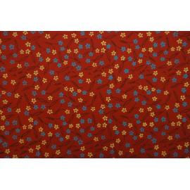 Papier indien imprimé Fleurs fond rouge