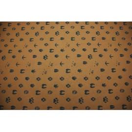 Papier indien marron empreintes animaux noires