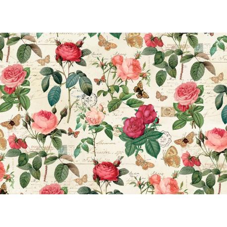 Papier imprimé Roses & Papillons